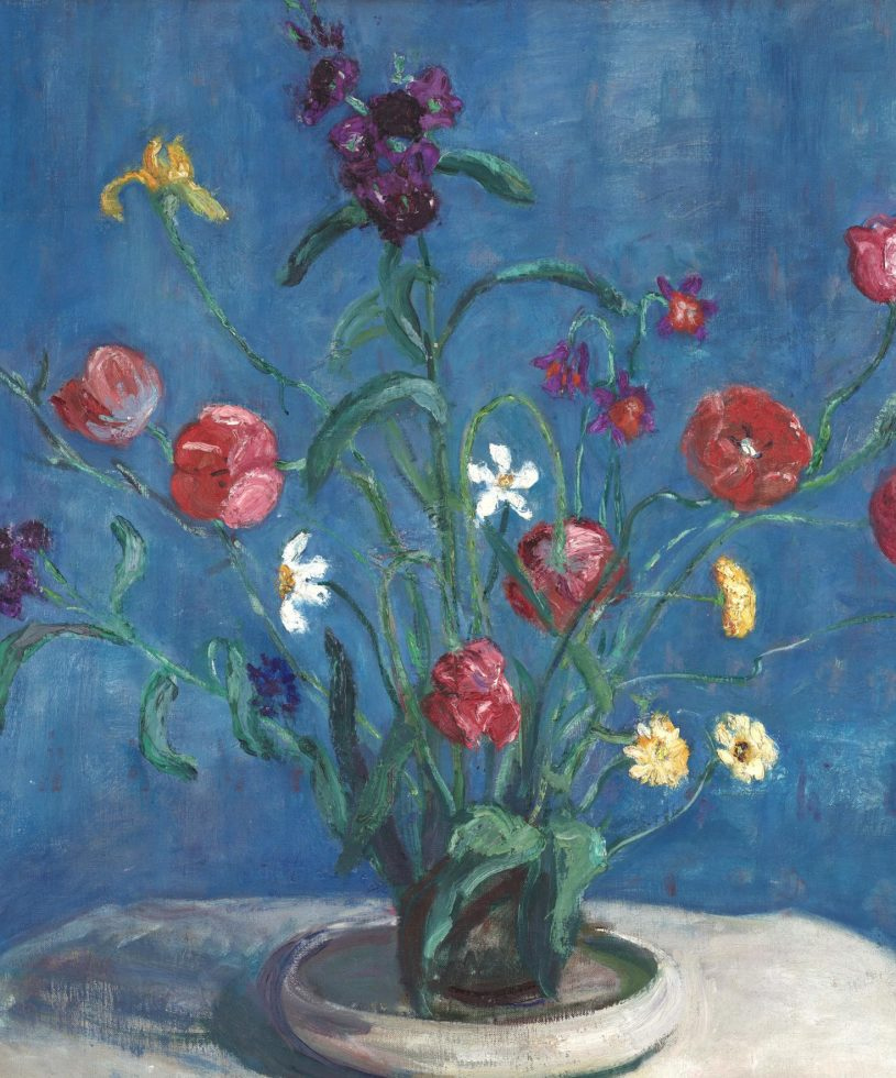 painting of spring flowers on blue background.